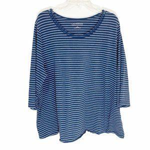 Catherines Suprema Blue White Striped T-shirt